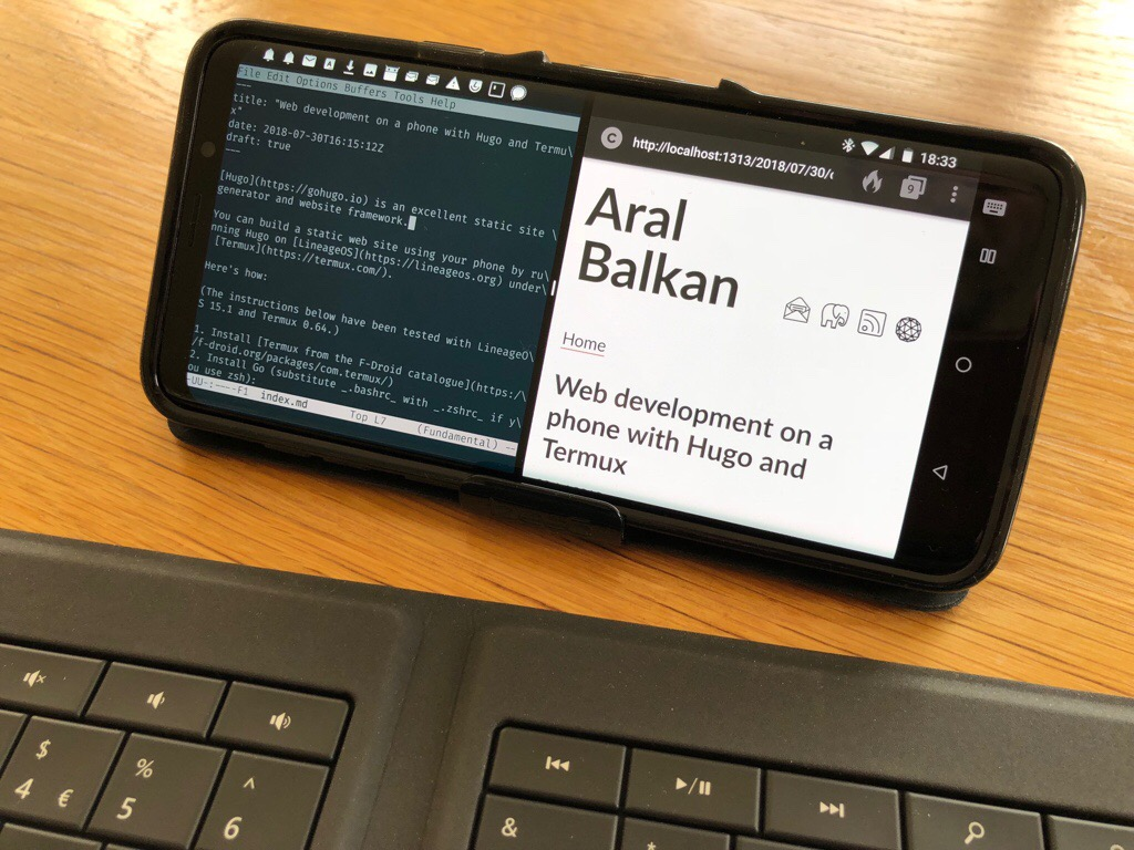 Web development on a phone with Hugo and Termux – Aral Balkan