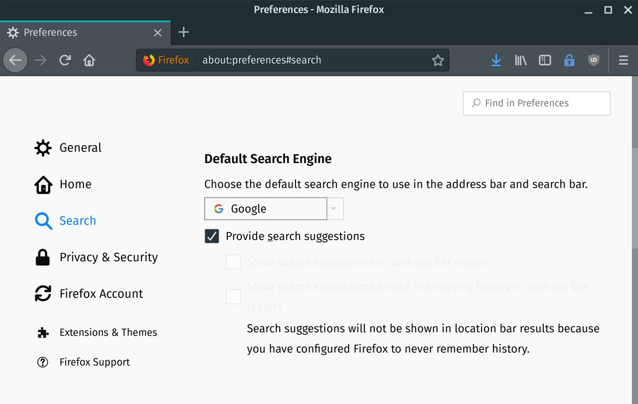 Screenshot of Firefox showing the default search engine (Google)