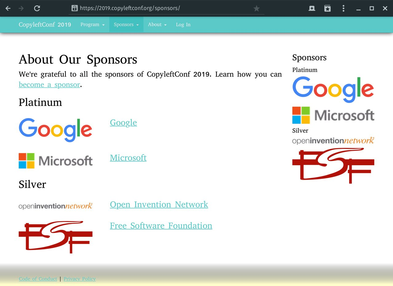 The sponsors page of CopyLeftConf: Google, Microsoft, and FSF are among the sponsors