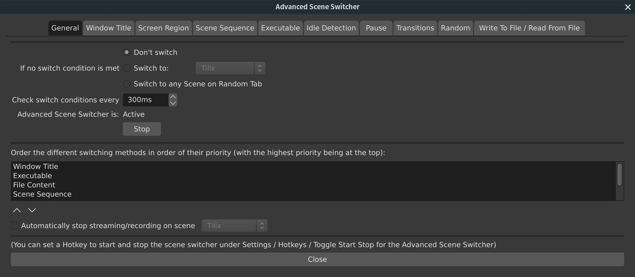 Using the Advanced Scene Switcher Plugin with manual