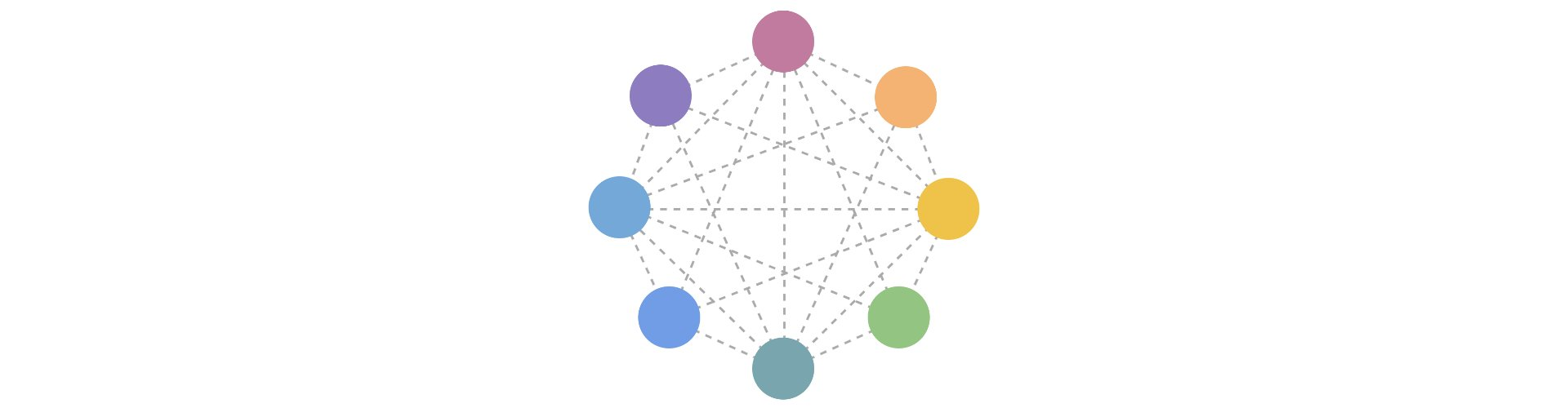 The Small Web logo: Multi-coloured circles, arranged around the circumference of a circle, connected to one another by dashed lines.