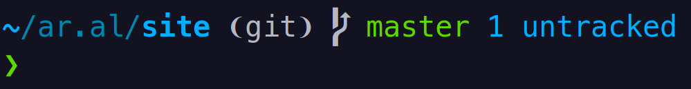 Screenshot of my prompt. It reads: ~/ar.al/site ❨git❩  master 1 untracked