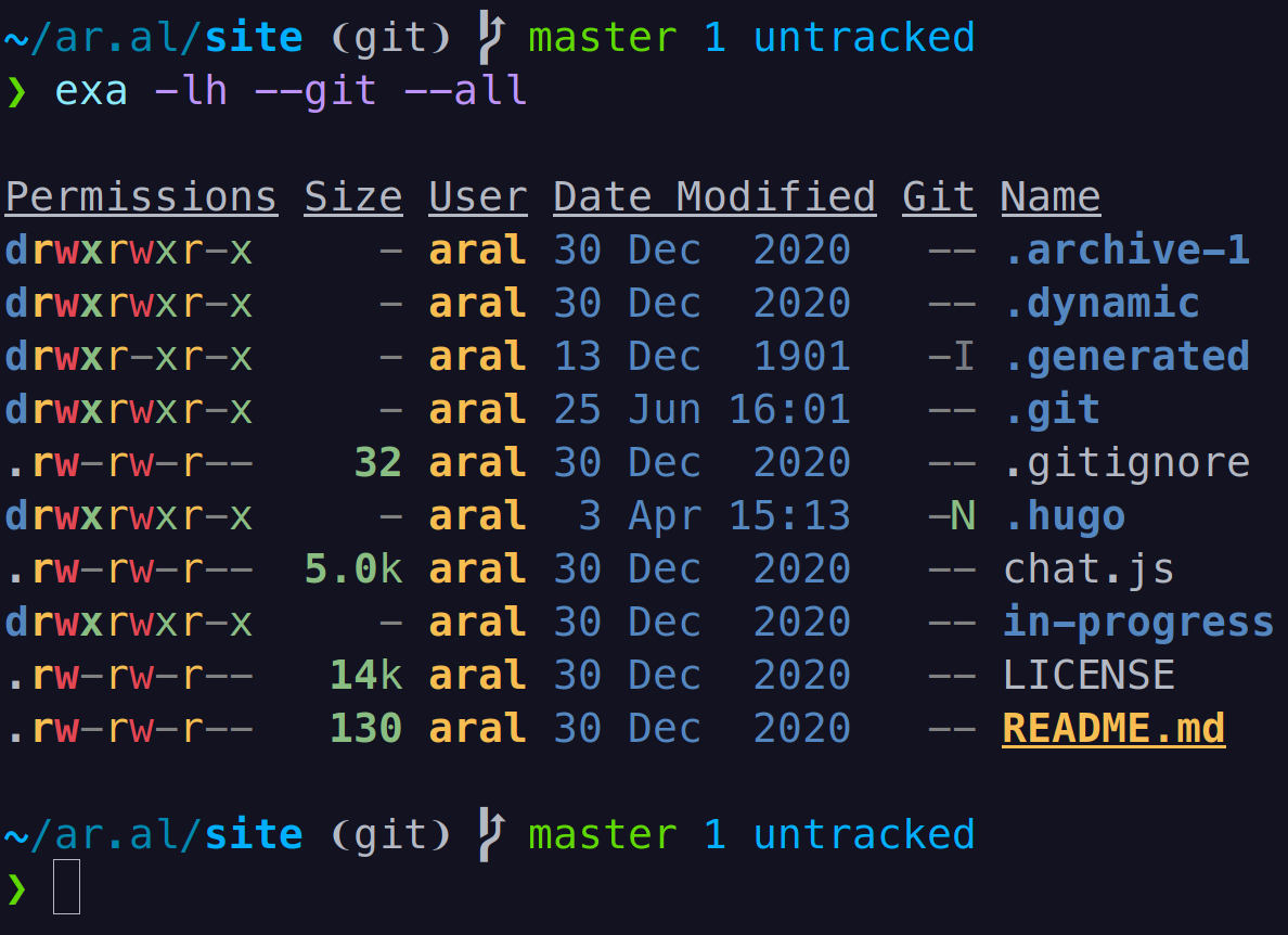 Screenshot of Gills showing the empty line after the command and the command output