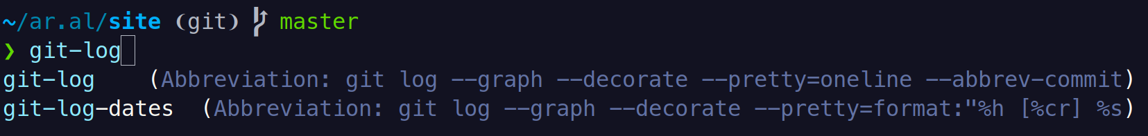 Screenshot of Fish shell suggesting abbreviation completions for the command get-lo: git-log (Abbreviation: git log --graph --decorate --pretty=oneline --abbrev-commit) and git-log-dates  (Abbreviation: git log --graph --decorate --pretty=format: