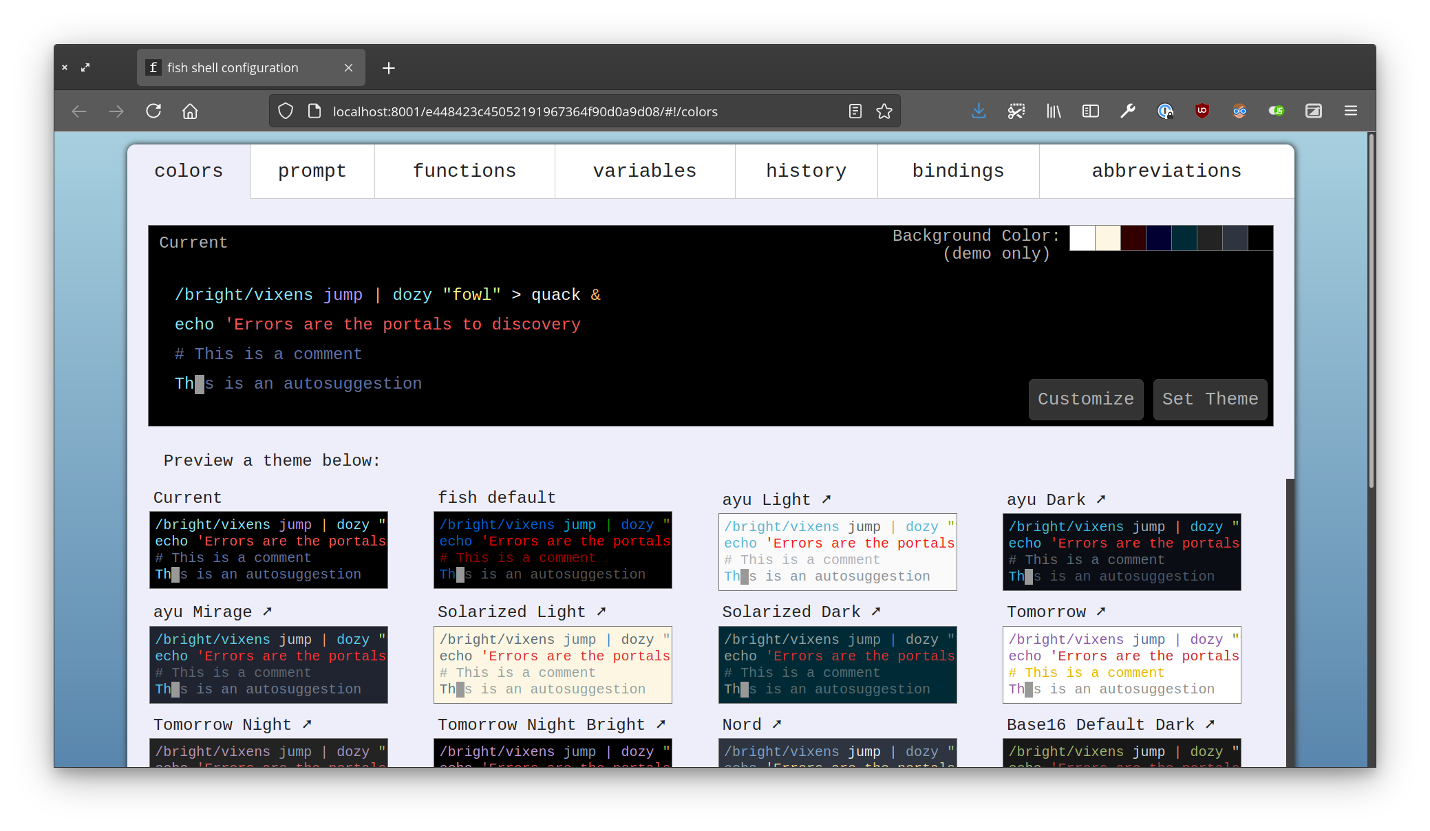 Screenshot of the web interface for fish_config, showing the  colors, prompt, functions, variables, history, bindings, and abbreviations tabs.
