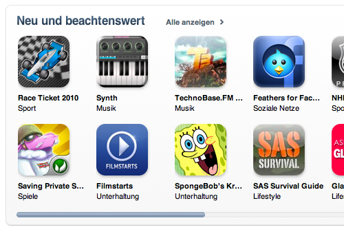 Feathers for Facebook: currently featured on the German App Store