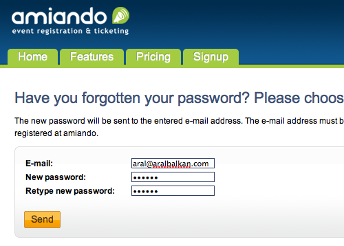 Amiando.com's forgotten password form