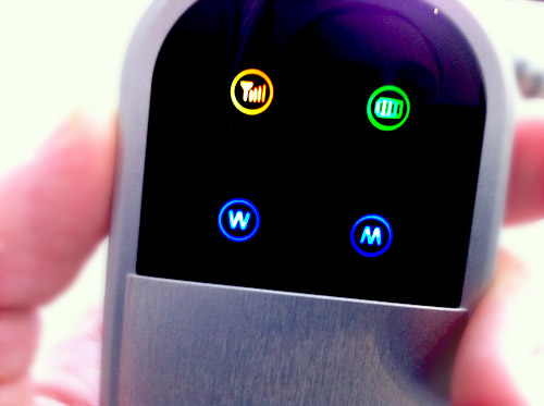The MiFi's screen and the four colored lights/icons.