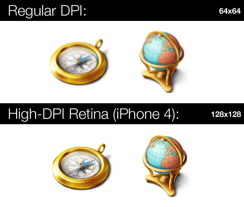 An image showing the superior detail in using high-resolution web images for the iPhone 4 Retina display