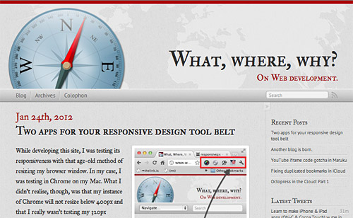 Screenshot of WhatWhereWhy.me. My new blog on web development.