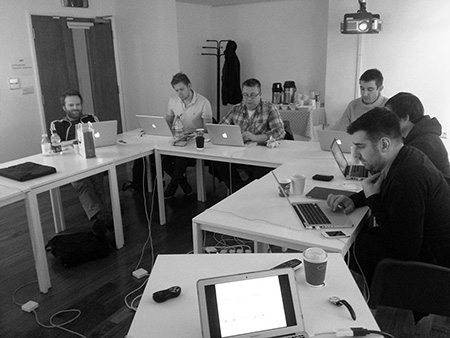 Class of workshop students taking Aral Balkan's iOS development course in Brighton