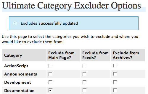 Wordpress Ultimate Category Excluder Plugin