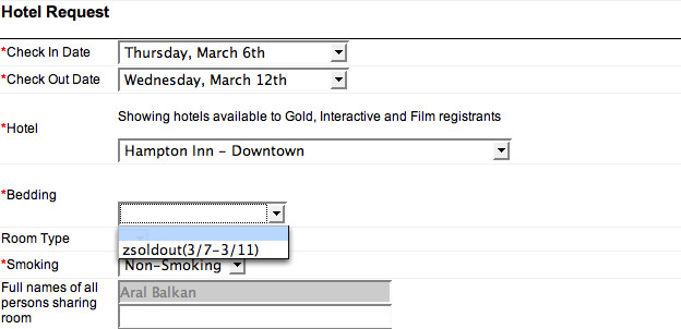 Zsoldout: Bad usability in SXSW signup form