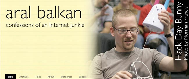 A header image from the blog's previous design; Aral holding his Nabaztag bunny at Hack Day.