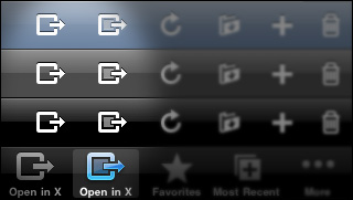 Open in External App iPhone toolbar and tab bar icons
