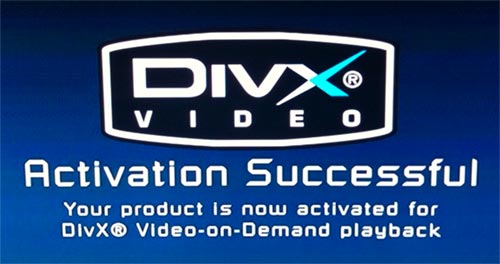 DivX VOD activation screen on the PS3